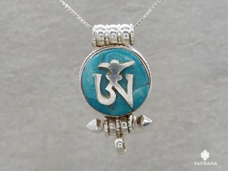 PA568 Pendentif Amulette Ghau Argent Massif Om