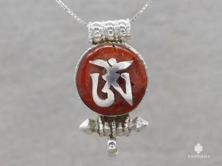 PA570 Pendentif Amulette Ghau Argent Massif Om