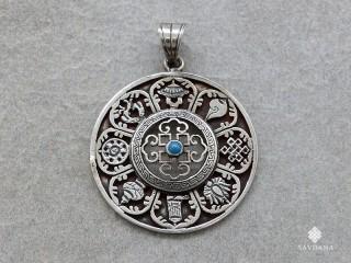 PA380 Pendentif Argent Massif Mandala Signes Auspicieux Turquoise