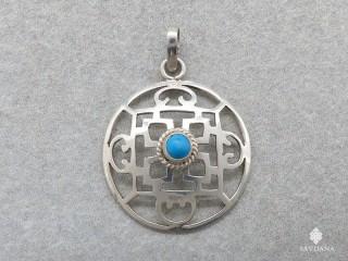 PA244 Pendentif Argent Massif Mandala Turquoise