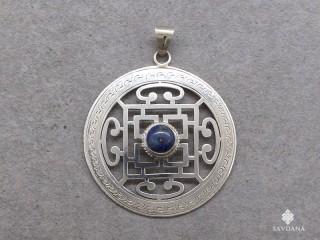 PA280 Pendentif Argent Massif Mandala Lapis Lazuli