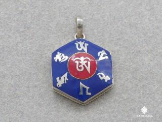 PA344 Pendentif Argent Massif Mantra Om Lapis Lazuli