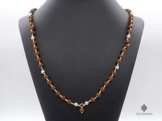 CA25 Collier Argent Massif Perles de Rudraksha