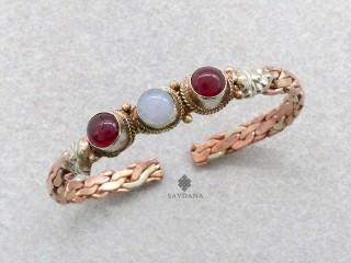 BrD266 Bracelet 3 Métaux Pierres