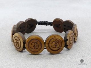 BrD209 Bracelet Tibétain Os de Buffle Om