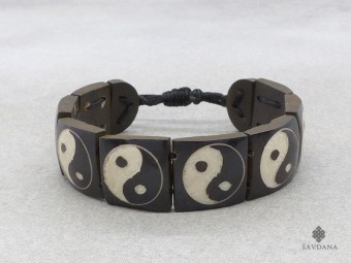 BrD210 Bracelet Tibétain Os de Buffle Yin Yang