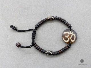 BrD222 Bracelet Tibétain Os de Buffle Om