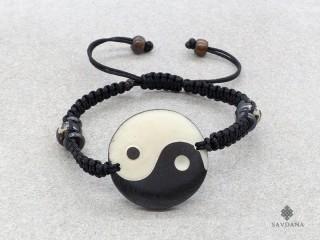 BrD223 Bracelet Tibétain Os de Buffle Yin Yang