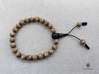 BrMala311 Bracelet Mala de Prières Tibétain Conque Mantra