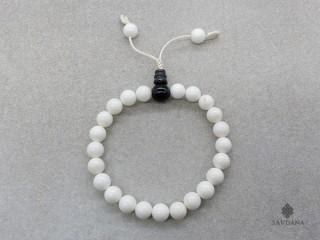 BrMala318 Bracelet Mala de Prières Tibétain Conque Onyx