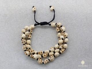 BrMala364 Bracelet Mala Tibétain Crâne