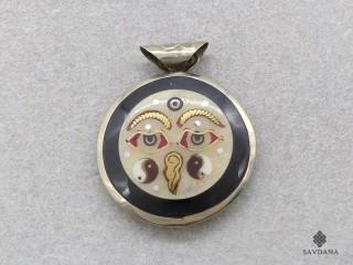 P71 Pendentif Tibétain Om Yeux de Bouddha Noeud Sans Fin