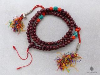 Mala168 Mala de Prières Tibétain Bois Dorje Cloche