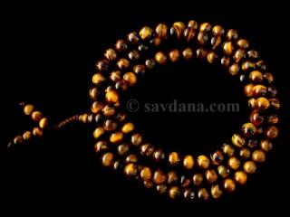 Mala58 Mala de Prières Tibétain Oeil de Tigre