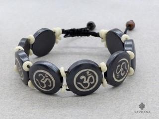 BrD212 Bracelet Tibétain Os de Buffle Om
