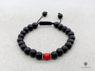 BrMala193 Bracelet Mala de Prières Tibétain Onyx