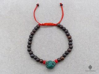 BrMala228 Bracelet Mala de Prières Tibétain Os de Buffle