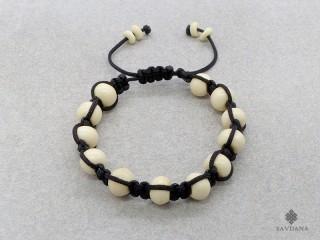 BrMala260 Bracelet Shambhala Tibétain Os de Buffle