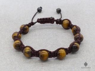 BrMala264 Bracelet Shambhala Tibétain Oeil de Tigre