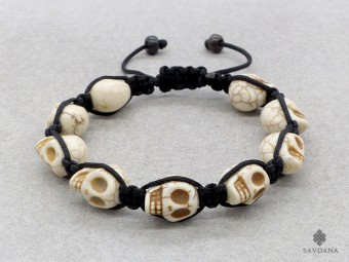 BrMala266 Bracelet Sanbhala Tibétain Crâne Tetes de Mort