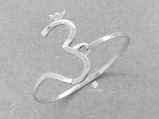 BrA114 Bracelet Tibétain Argent Massif Om