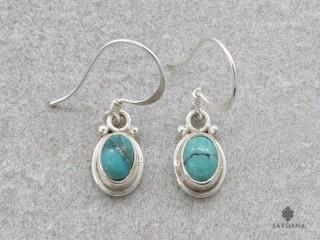 BdOA230 Boucles d'Oreille Argent Massif Turquoise