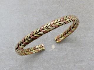 BrD113 Bracelet Tibétain Cuivre Laiton Métal Argenté