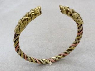 BrD261 Bracelet Tibétain Cuivre Laiton Métal Argenté Dragon