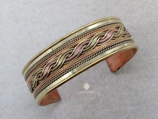 BrD277 Bracelet Tibétain Cuivre Laiton Métal Argenté