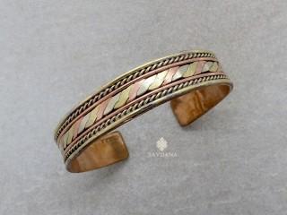 BrD331 Bracelet Tibétain Cuivre Laiton Métal Argenté Om