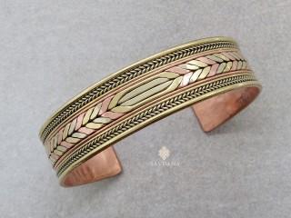 BrD332 Bracelet Tibétain Cuivre Laiton Métal Argenté Om