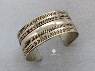 BrD333 Bracelet Tibétain Cuivre Laiton Métal Argenté Om