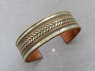 BrD334 Bracelet Tibétain Cuivre Laiton Métal Argenté Om