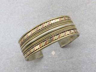 BrD383 Bracelet Tibétain Cuivre Laiton Métal Argenté