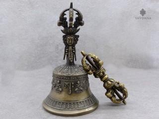 ClocheDorje03 Set Cloche et Dorje/Vajra Tibétains de Cérémonie Bouddhiste