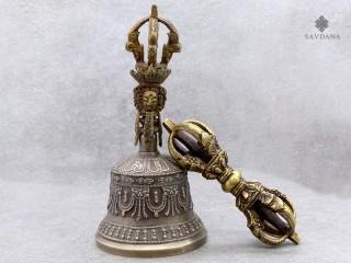 ClocheDorje04 Set Cloche et Dorje/Vajra Tibétains de Cérémonie Bouddhiste