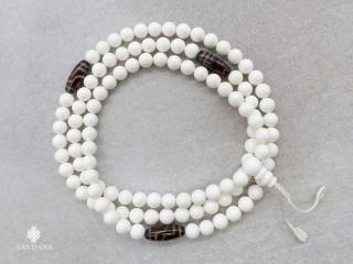 Mala76 Mala de Prières Tibétain Conque Perles Dzi