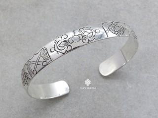 BrA96 Bracelet Tibétain Argent Massif Astamangala Dorje