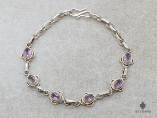 BrA53 Bracelet Argent Massif Améthyste