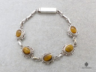 BrA72 Bracelet Argent Massif Oeil de Tigre