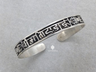 BrA89 Bracelet Tibétain Argent Massif Mantra Om Mani Padme Hum