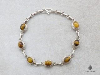 BrA102 Bracelet Argent Massif Oeil de Tigre