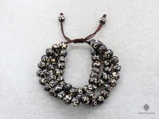 BrMala21 Bracelet Mala de Prières Tibétain OM Os de Buffle