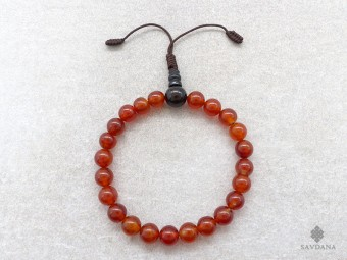 BrMala461 Bracelet Mala de Prières Tibétain Cornaline