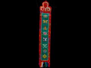 BB64 Bannière Tibétaine Signes Auspicieux du Bouddhisme