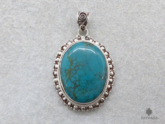 PA208 Pendentif Argent Massif Turquoise