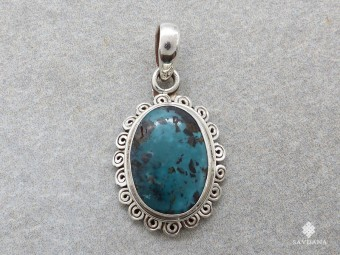 PA651 Pendentif Argent Massif Turquoise