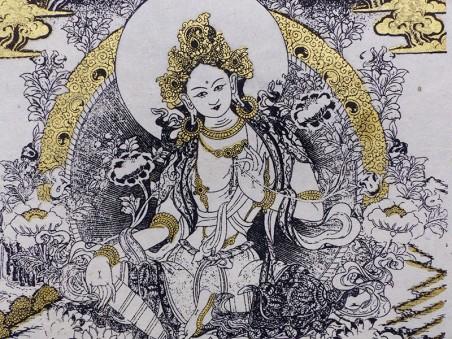AF136 Affiche Tibétaine Papier Népalais Tara