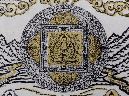 AF144 Affiche Tibétaine Papier Népalais Bouddha
