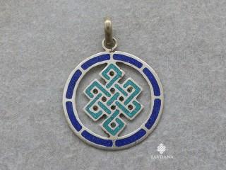 P112 Pendentif Tibétain Om Nœud Sans Fin